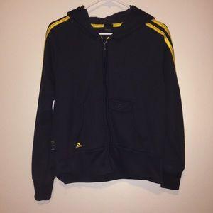 Navy blue and yellow zip up adidas jacket